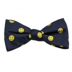 Navy & Yellow Smiley Faces Men's Silk Bow Tie