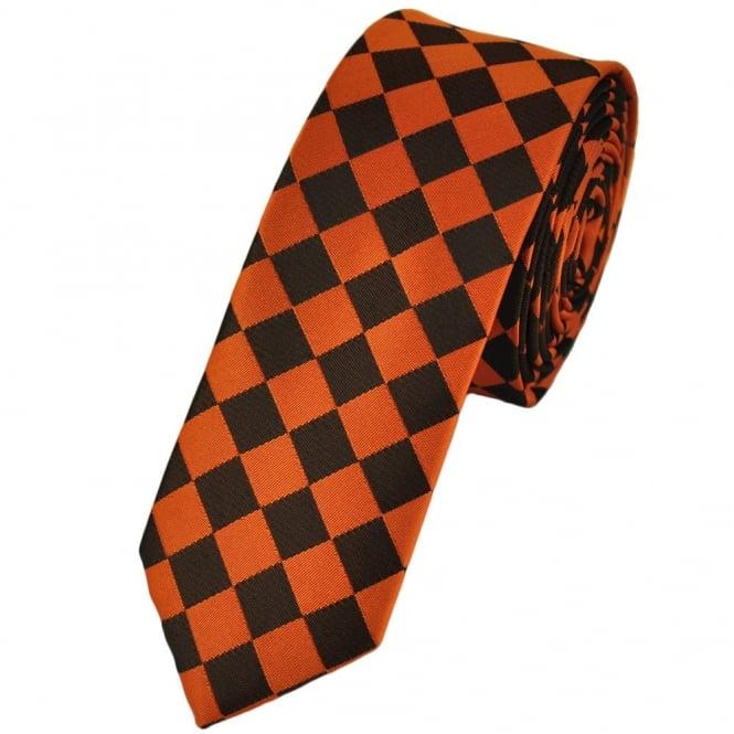 neon orange and black diamond checked skinny tie