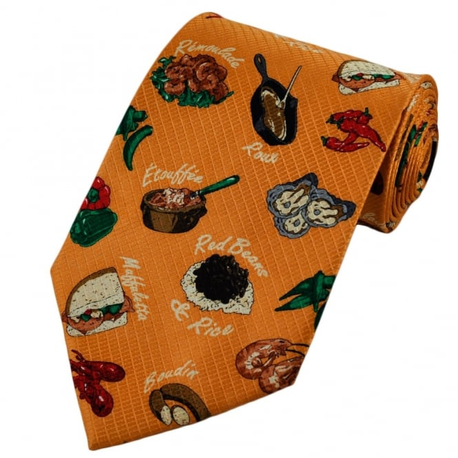 New Orleans Mardi Gras Party Cajun and Creole Food Novelty Silk Tie