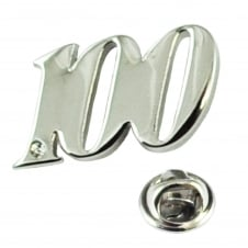Number 100, 100th Birthday Lapel Pin Badge with Crystal - Rhodium Plated