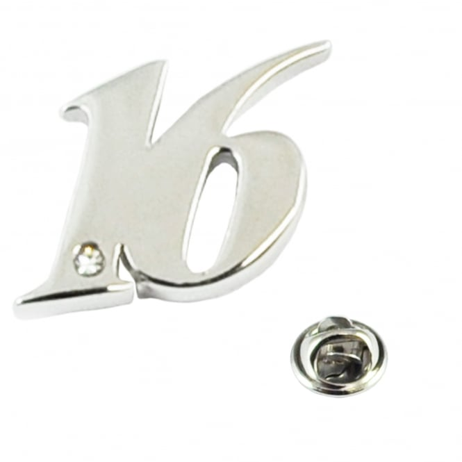 Number 16, 16th Birthday Lapel Pin Badge with Crystal - Rhodium Plated