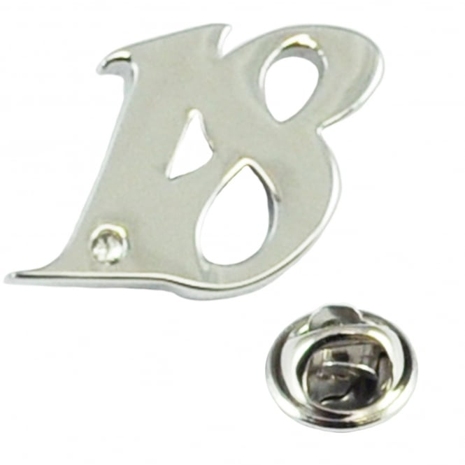 Number 18, 18th Birthday Lapel Pin Badge with Crystal - Rhodium Plated