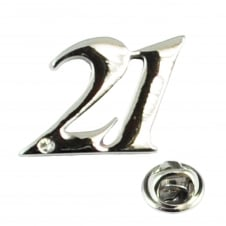 Number 21, 21st Birthday Lapel Pin Badge with Crystal - Rhodium Plated
