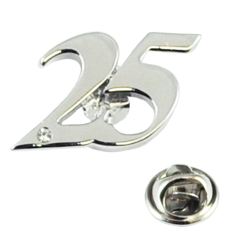 25 Wedding Anniversary Gift.Number 25 25th Silver Wedding Anniversary Lapel Pin Badge With Crystal Rhodium Plated
