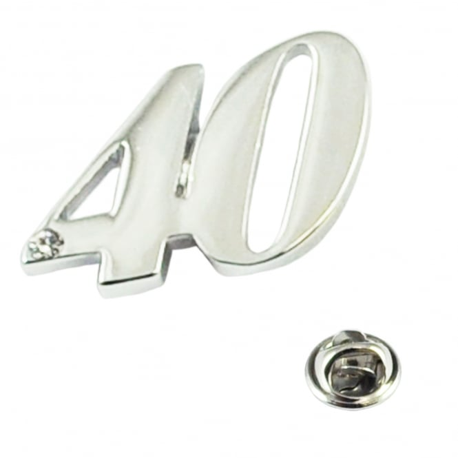 Number 40, 40th Birthday Lapel Pin Badge with Crystal - Rhodium Plated