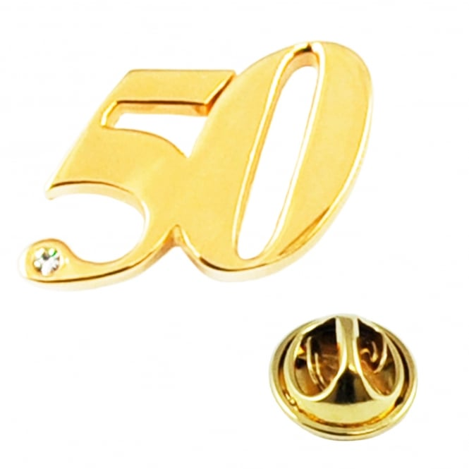 Number 50, 50th Birthday Golden Wedding Lapel Pin Badge with Crystal - Gold Plated