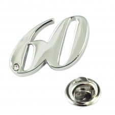 Number 60, 60th Birthday Lapel Pin Badge with Crystal - Rhodium Plated