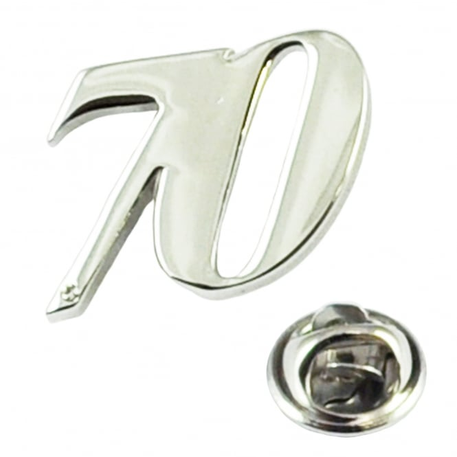 Number 70, 70th Birthday Lapel Pin Badge with Crystal - Rhodium Plated