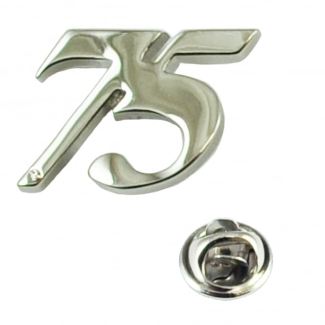 Number 75, 75th Birthday Lapel Pin Badge with Crystal - Rhodium Plated