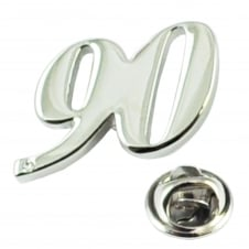 Number 90, 90th Birthday Lapel Pin Badge with Crystal - Rhodium Plated