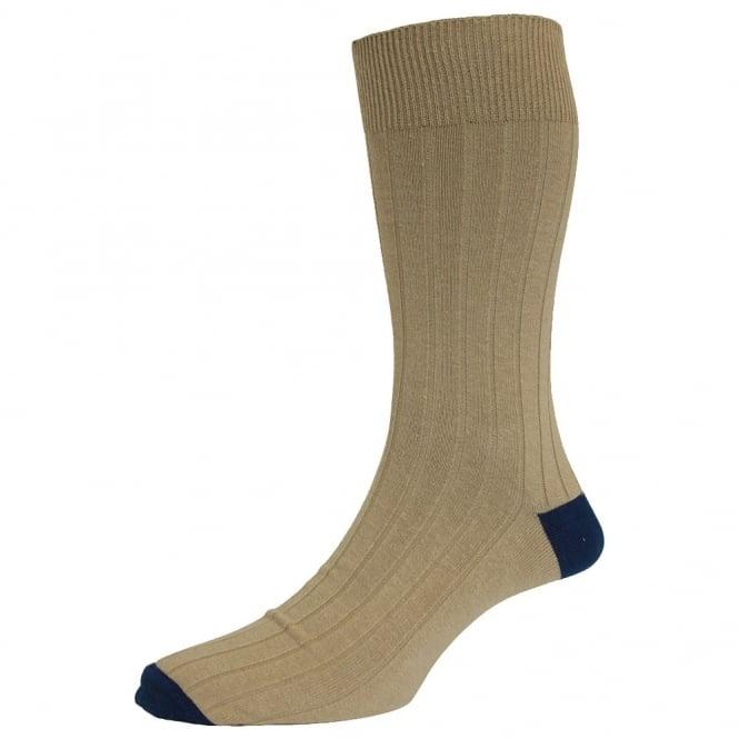 Oatmeal & Navy Blue Men's SocksLuxury Cotton Rich Socks by HJ Hall The UKs Largest Sock MakerMens Size 6-11- EU 39 46