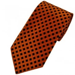 Orange & Black Checked Patterned Men's Tie