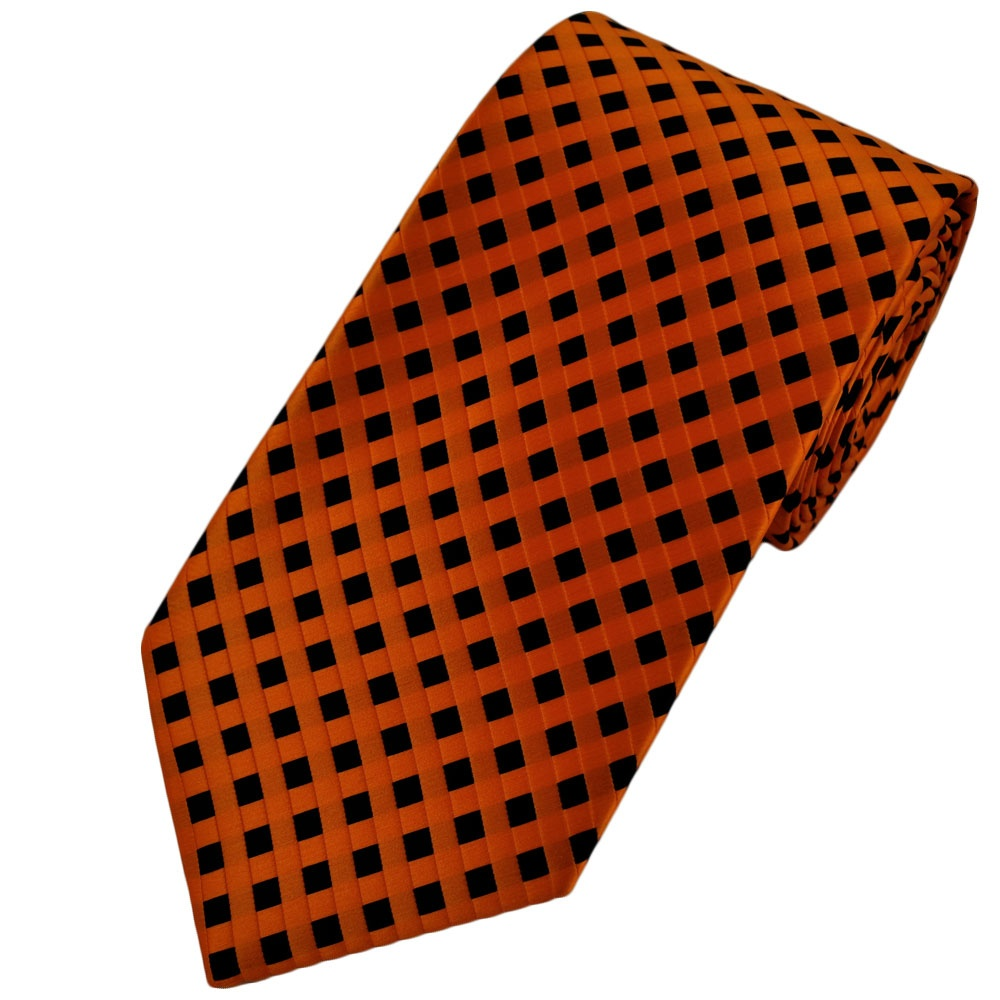 orange black checked patterned s tie from ties planet uk
