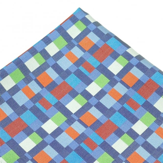 Orange, Blue, Green & White Patterned Silk Pocket Square Handkerchief