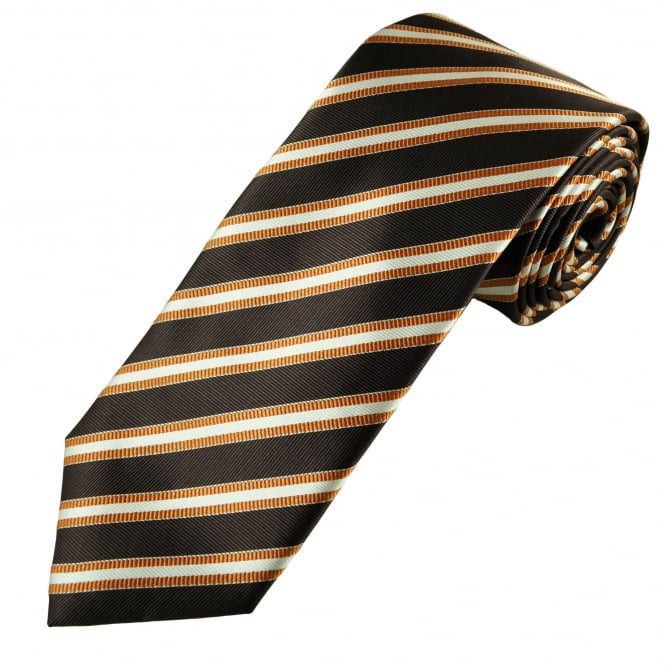 Orange, Brown & Silver Striped Men's Tie