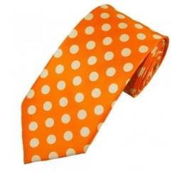 Orange & Ivory Polka Dot Tie