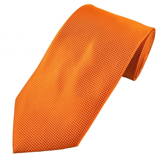 Orange & Ivory Square Patterned Men's Tie