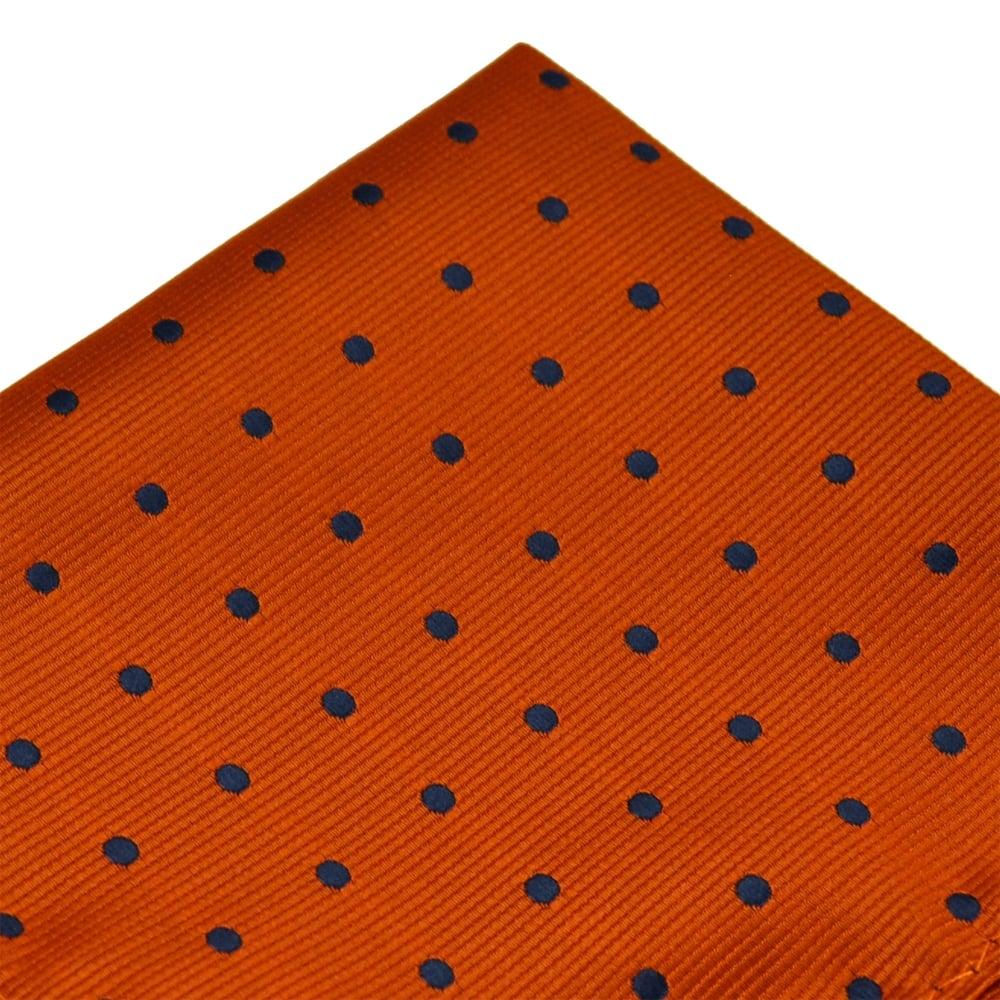 0f6d06af50152 Orange & Navy Blue Polka Dot Pocket Square Handkerchief from Ties Planet UK