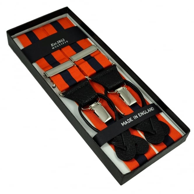 Orange & Navy Blue Striped Trouser Braces (with Black Leather Dual 2 in 1 Button and Clip Attachment)