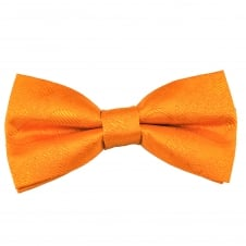 Orange Paisley Patterned Boys Bow Tie