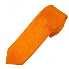 Orange Paisley Patterned Men's Skinny Tie