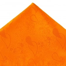 Orange Paisley Patterned Pocket Square Handkerchief