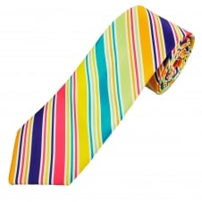 Orange, Purple, Pink, Yellow, Turquoise, Green & Silver Striped Men's Tie