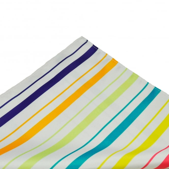 Orange, Purple, Pink, Yellow, Turquoise, Green & Silver Striped Patterned Pocket Square Handkerchief