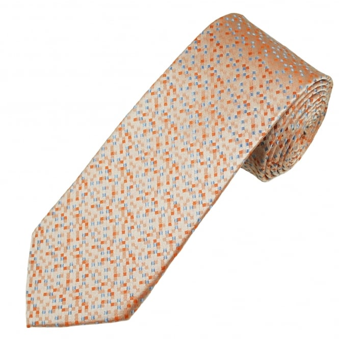 Orange, Silver & Blue Micro Checked Luxury Men's Silk Tie