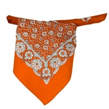 Orange, White & Black Paisley Patterned Bandana Neckerchief