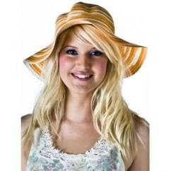 Orange & White Floppy Hat