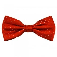 Orange & White Polka Dot Silk Bow Tie