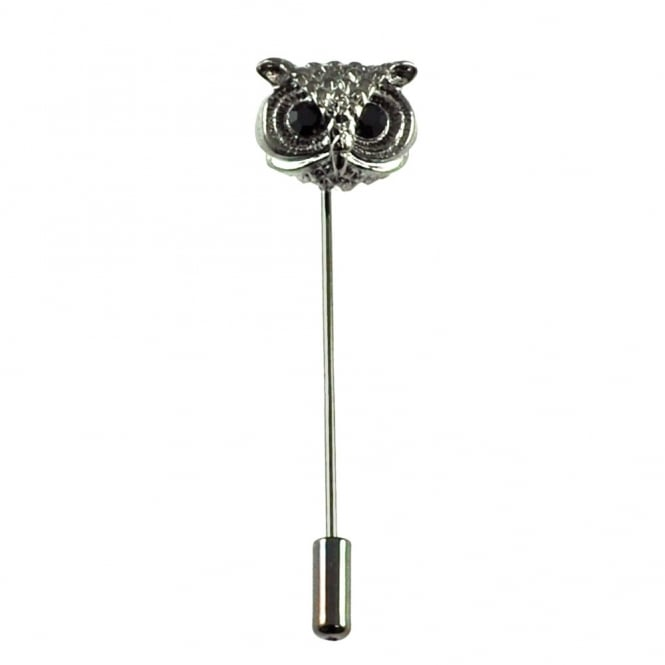 Owl with Crystal Eyes Stick Lapel Pin