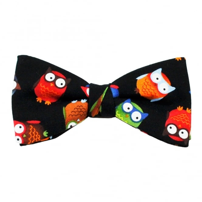Owls Black Novelty Bow Tie