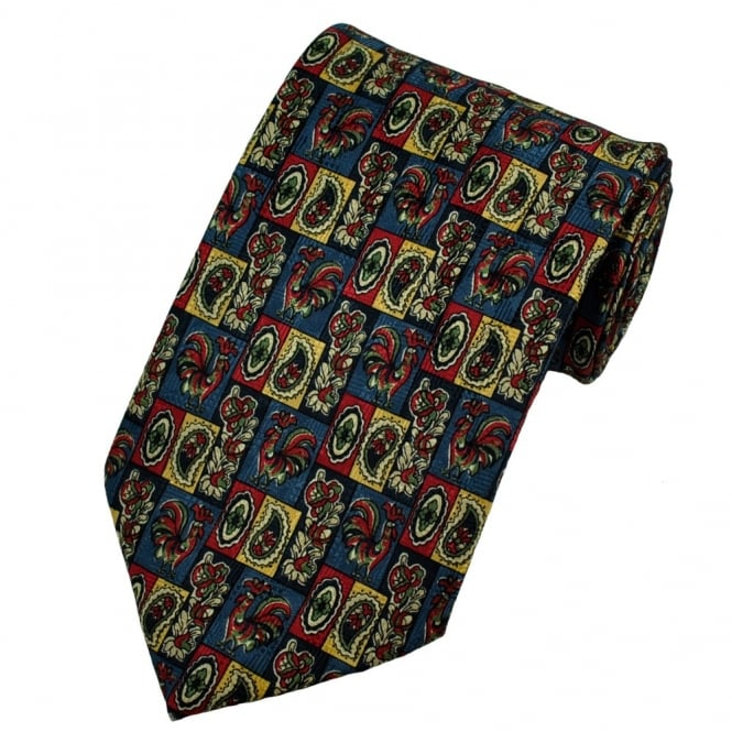 Paisley & Checked Rooster Themed Silk Tie