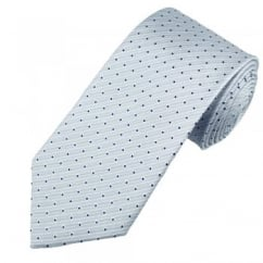 Pale Blue Pinstripe with Navy Blue Polka Dot Men's Silk Tie
