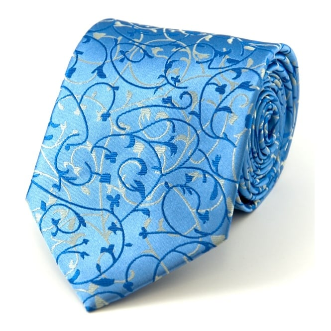 Pale Blue, Royal Blue & Silver Paisley Tie