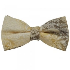 Pale Gold Paisley Silk Bow Tie