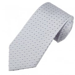 Pale Lilac Pinstripe with Navy Blue Polka Dot Men's Silk Tie