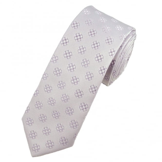 Pale Lilac & White Patterned Skinny Tie