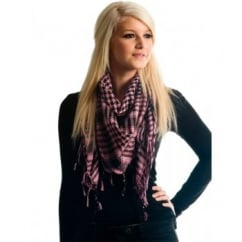 Pale Pink & Black Shemagh Scarf