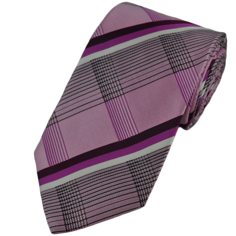 pale pink checked silk tie from ties planet uk