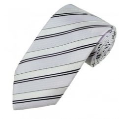 Pale Violet, Purple, Light Blue & White Striped Men's Silk Tie - Gift Boxed