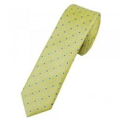 Pale Yellow & Shades of Blue Spot Patterned Skinny Tie