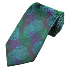 Peacock Coloured Chrysanthemum Floral Patterned Men's Silk Tie