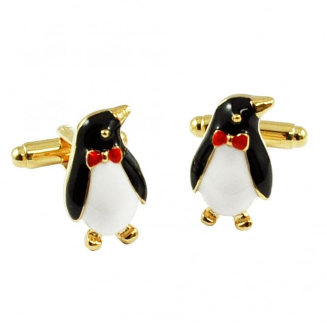 Penguin in a Bow Tie Novelty Cufflinks - Colour Gold
