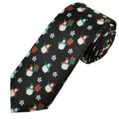 Penguins & Snowflakes Black Men's Novelty Christmas Tie