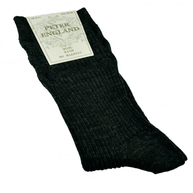 Peter England Plain Mid Grey Merino Wool Rich No Elastic Men's Socks