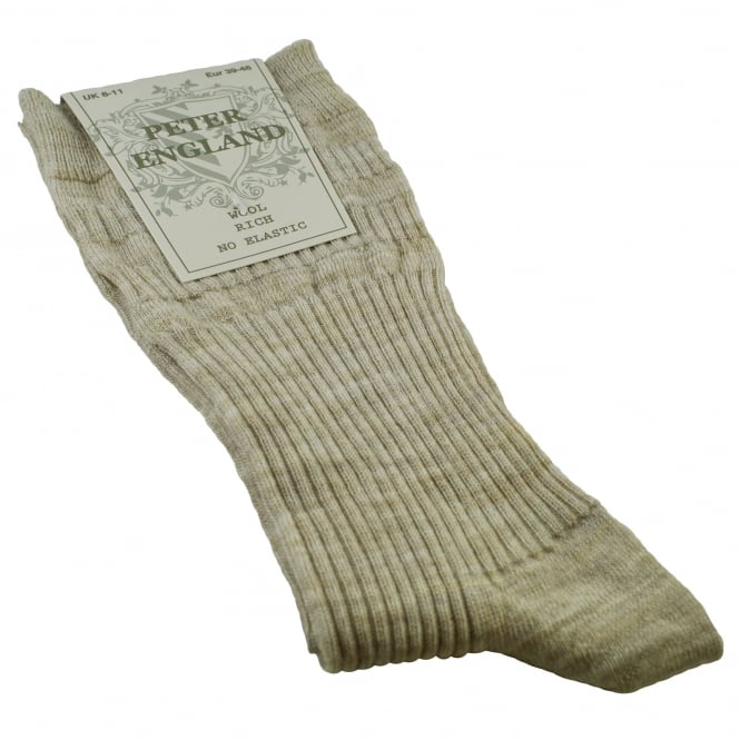 Peter England Plain Natural Merino Wool Rich No Elastic Men's Socks