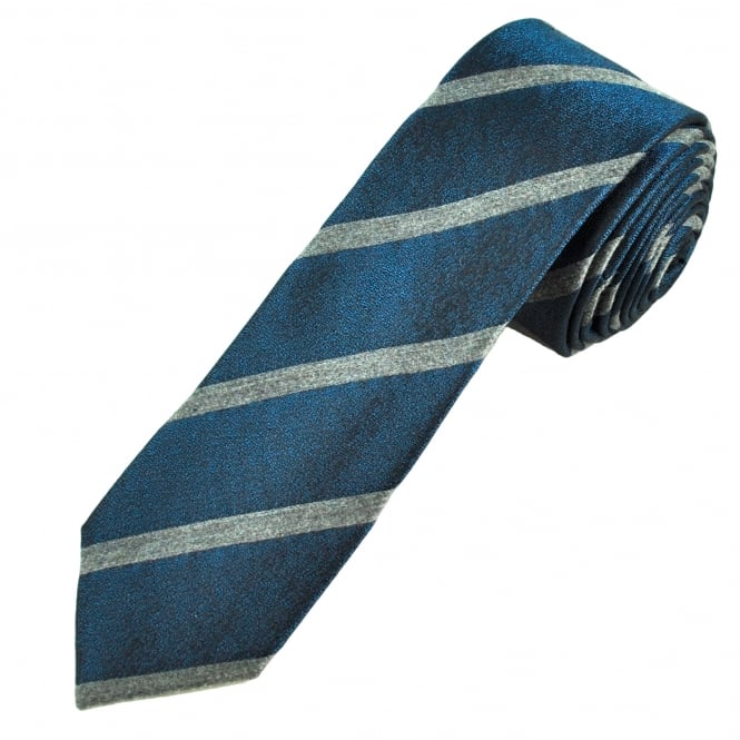 Petrol Blue & Grey Striped Men's Silk Blend Skinny Tie